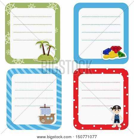Set of cute creative cards with pirate and pirate objects. Vector design templates for greeting / gift cards flyers posters etc.