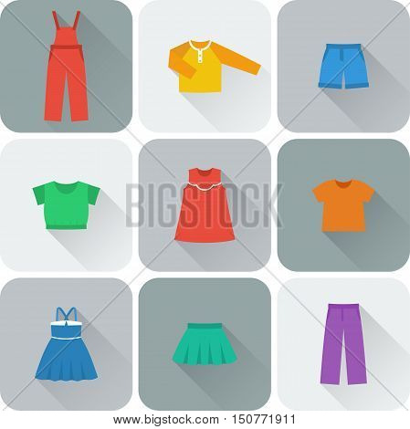Icon set children's clothes for girls in flat style with long shadow. Collection of clothing on gray background. Vector illustration.