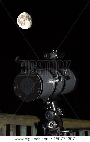 Watching the moon in full phase on the background of the pure night sky in the countryside.