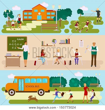 Three templates with school scene. Schoolyard and stadium. Students and teachers in the classroom. Teens and kids with parents by way to schoolbus. Vector illustration eps10