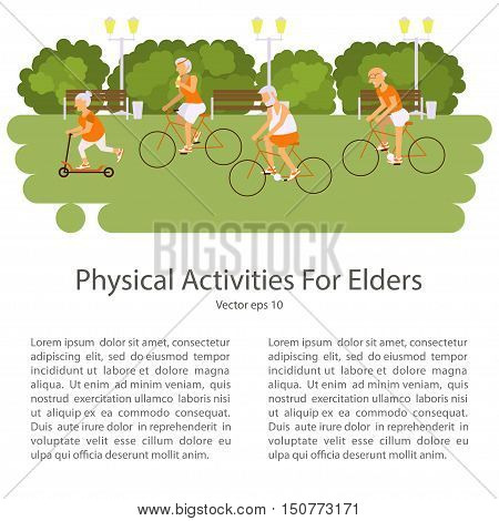 Elderly people on bicycles in different poses. Healthy active lifestyle retiree. Sport for grandparents, elder fitness, cycling for Seniors isolated on white background. Vector illustration eps10