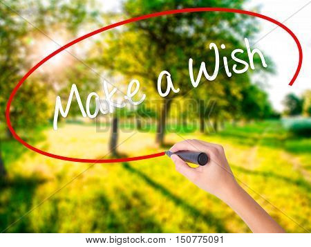 Woman Hand Writing Make A Wish  With A Marker Over Transparent Board