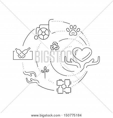 Charity and donation concept set of signs for web banners, printed materials, infographics, websites. Creative icons in thin line flat design. Vector illustration eps10