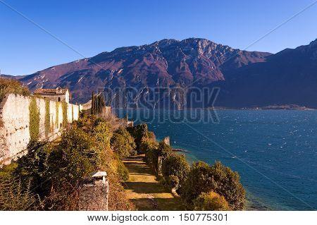 Lago di Garda (Garda Lake) and Monte Baldo (Baldo Mountain) near the small town of Limone sul Garda. Lombardia and Veneto Italy Europe