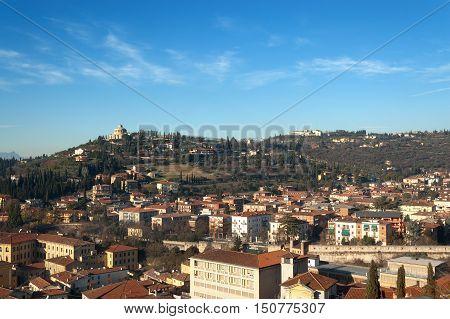 The hills of the city of Verona in winter (UNESCO world heritage site) - Veneto Italy