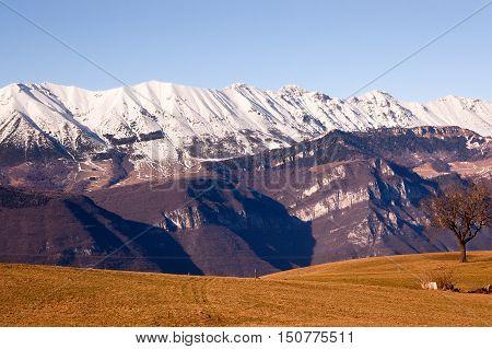 Monte Baldo (Baldo Mountain) 2218 m. in winter near Verona seen from the Plateau of Lessinia. Veneto Italy