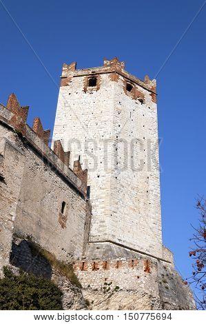 Castello Scaligero di Malcesine (Scaliger Castle of Malcesine) on the Veneto shore of Garda Lake Verona Italy