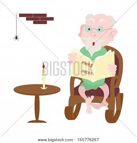 Happy grandparents day design, illustration of cartoon grandpa in rocker reading a fairy tale. Vector eps10