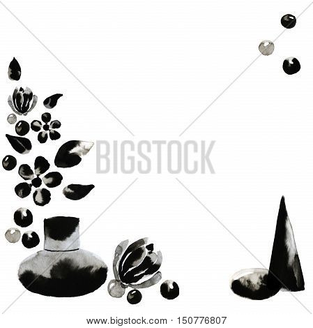 Illustration of black blots with ink flowers and stones bottle of perfume beads. Hand made painting.