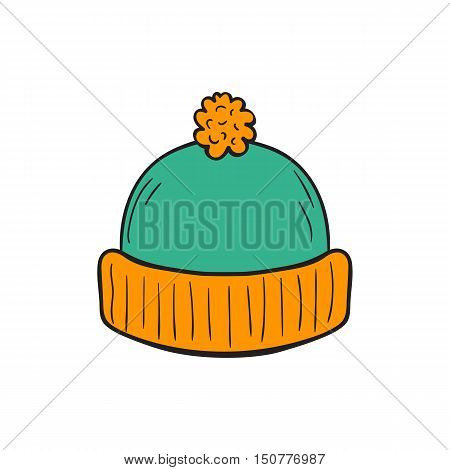 Vector cartoon illustration with hand drawn isolated autumn knitted colorful hat on white background. Season hand drawn accessory icon. Autumn cold protection. Vector clothing icon