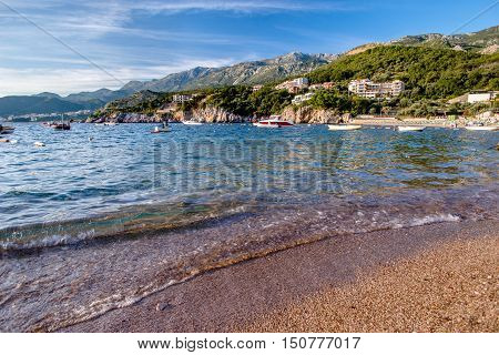sunset, bay of przno, przno, adriatic, balkans, bay, boat, fjord, landscape, evening, blue, mediterranean, milocer, montenegro, surf wave, mountains, naves, port, regionis, resort, sea, sky, tourism, transport, travel, water, мontenegro