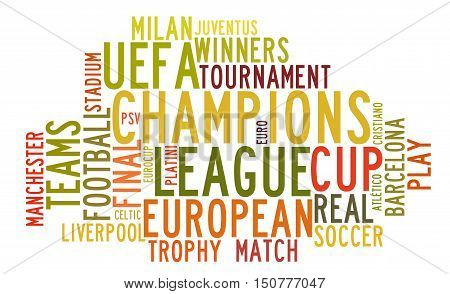 Uefa Champions League in word tag cloud on white background