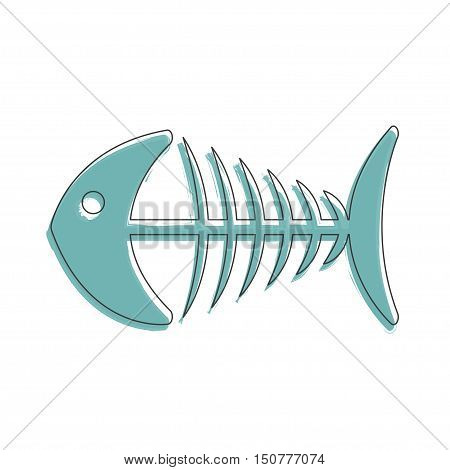 Ecology and Environment icon of fishbone for template website. Environmental protection and pollution fish-bone sign in thin line design. Vector illustration eps10