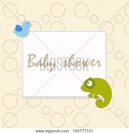 Decorative template frame design for invitation, greeting, happy birthday label, postcard frame, baby texture, child album, children pattern, holiday card, baby shower and arrival. Vector illustration