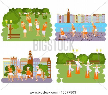 Banners Elderly people doing exercises. Healthy lifestyle, active lifestyle retiree. Sport for grandparents, elder Yoga in park and Ride for Seniors in city. Vector illustration eps 10