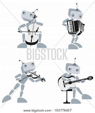 Illustration of Robots playing different musical instruments