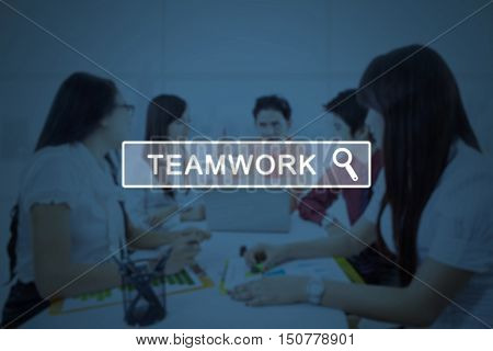 Image of a virtual search button with text of teamwork and businessteam sitting in a business meeting