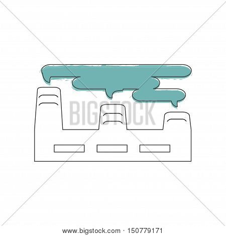 Ecology and Environment icon of factory for template website. Environmental protection and pollution works sign in thin line design. Vector illustration eps10