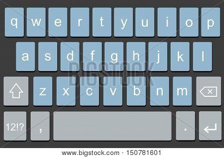 Vector modern keyboard of smartphone, alphabet keyboard buttons. Vector illustration for mobile app