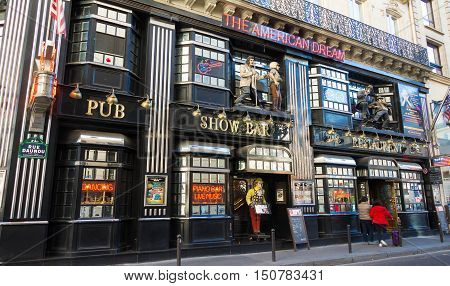 Paris France-October 03 2016: The American Dream is a famous restaurant and entertainment venue in Paris at 21 rue Daunou near National Opera house.