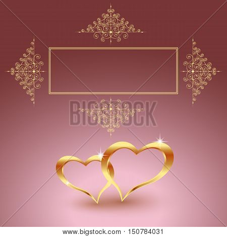 Gold metal heart for Valentine s day on a red background. Beautiful hearts. Symbol of love for the holiday, cards, label. EPS 10 vector illustration.