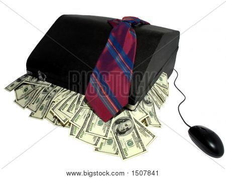 Suitcase With Money And Mouse