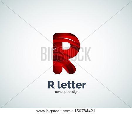 R letter business logo, modern abstract geometric elegant design. Created with waves