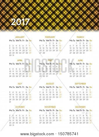 Vector calendar for 2017 year on white background with shiny yellow pattern in header. Week starts on monday