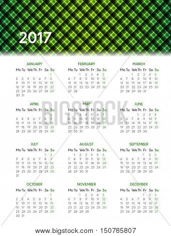 Vector calendar for 2017 year on white background with shiny green pattern in header. Week starts on monday
