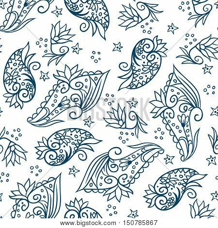Vector seamless pattern with doodle floral hand drawn elements on white background
