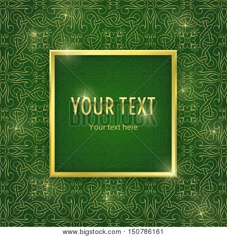 Vintage illustration with gold frame and ornament on green background