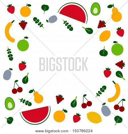 Amazing fruits and veggis flat design template in vector. Healthy food and plant base diet concept. Handdraw lettering text.  For menu, banners cafe and restaurant