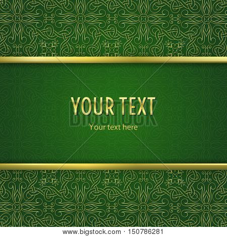 Vintage illustration with horizontal frame with gold border and gold abstract ornament on green background