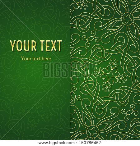 Vintage illustration with vertical frame and gold abstract ornament on green background