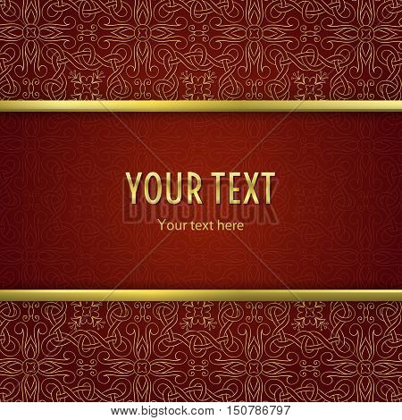 Vintage illustration with horizontal frame with gold border and gold abstract ornament on red background