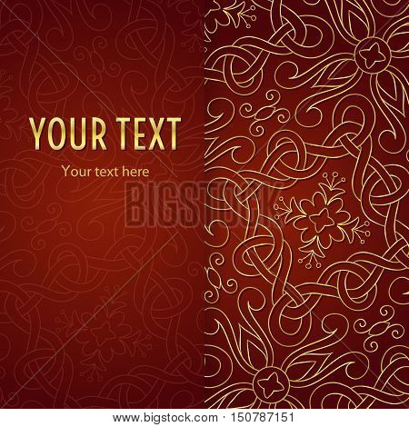 Vintage illustration with vertical frame and gold abstract ornament on red background