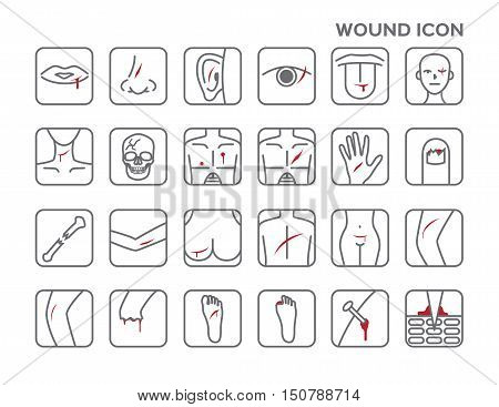 wound icon vector, bleeding on skin on white background