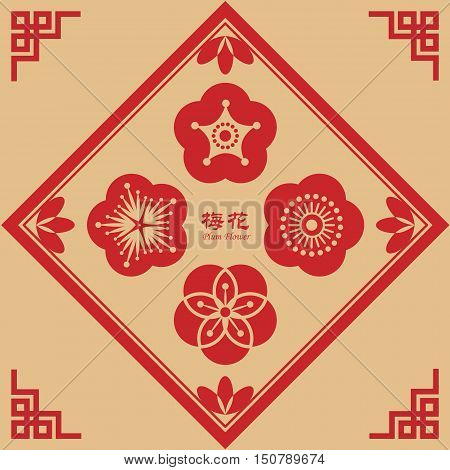 Symbol of plum flower / cherry blossom in chinese retro style. Chinse new year floral icon set. Chinese caption: plum flower.