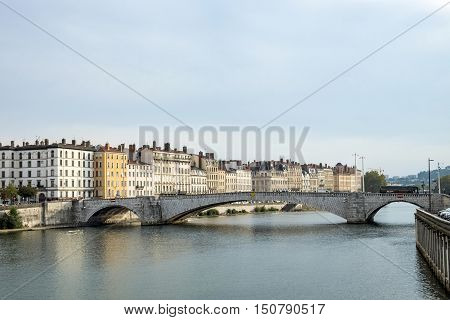 View To Rriver Rhone And Skyline Of Lyon, France