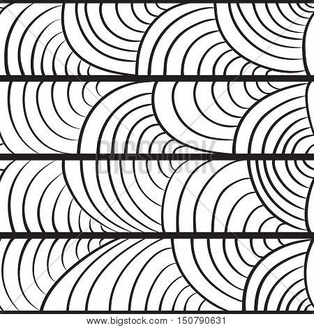 seamless pattern with a semicircles - black pattern on a white background. Hand drawn vector stock illustration