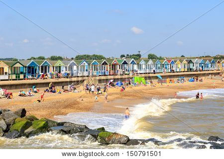 Crowded Beach At Southwold In Uk