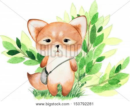 Vector watercolor forest  animal illustration - cute fox with a bag, green grass and shrub
