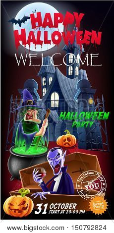 Invitation flyer for a party. Halloween. The entrance to the castle and count Dracula in the foreground. Vector illustration