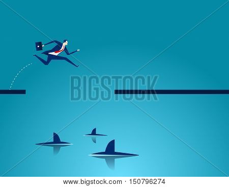Among Sharks. Business Concept Illustration. Vector Flat