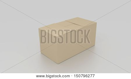Closed 3D Empty Brown Cardboard Box, Ready To Be Send On White Background. Rendered Illustration.