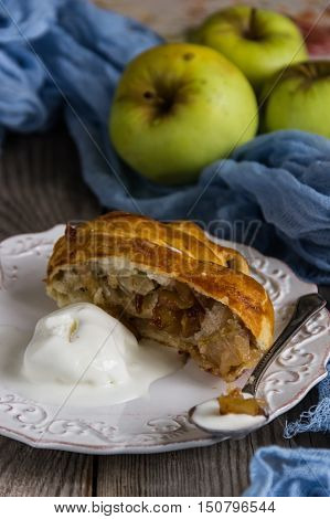 Freshly baked apple strudel with vanilla ice cream
