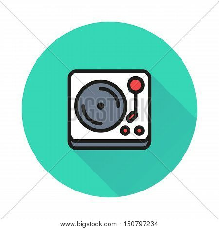 turntable vinyl record player icon on round background Created For Mobile Web Decor Print Products Applications. Icon isolated. Vector illustration