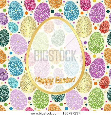 Greeting Card Happy Easter with colorful eggs and place for an inscription vector eps10
