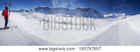 Young man ready to skiing in Swiss Alps mountain ski resort Elm Switzerland