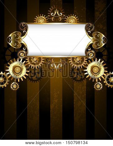 Vintage banner with a gold pattern on a dark striped background with gold and bronze gears. Steampunk background. Gold gear. Steampunk style.
